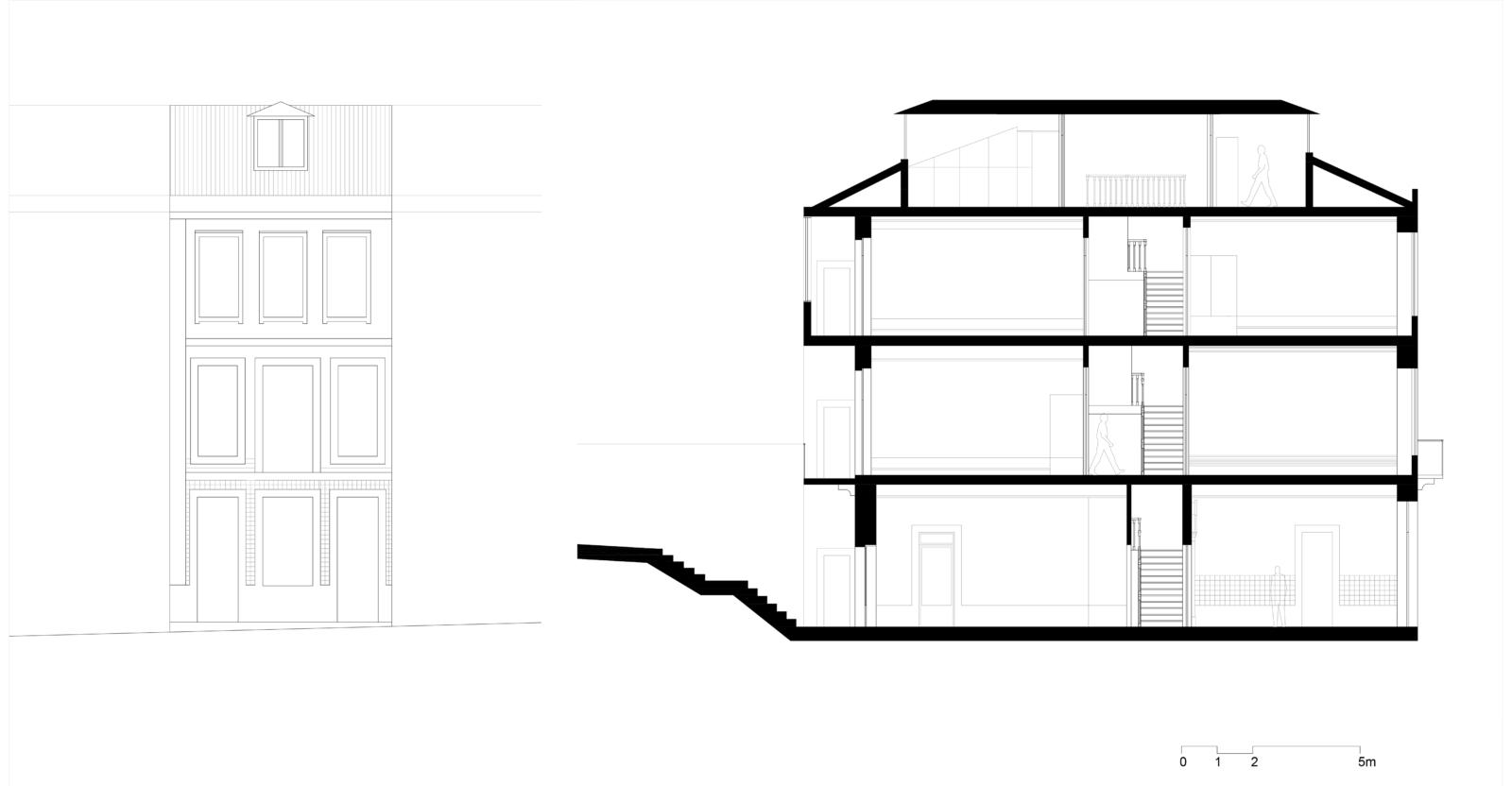 Alçado e corte longitudinal