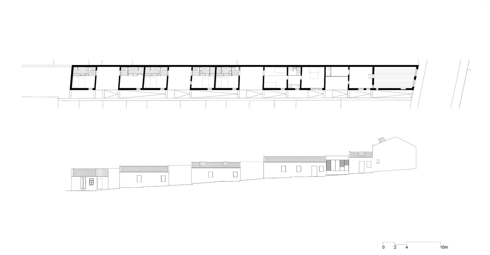 """Cenário 0 """"Artist residence- Sharing a patio"""": planta e alçado"""