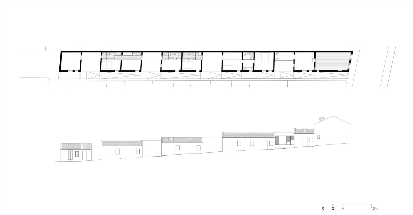 """Cenário 1 """"Artist residence- Studios 2+1"""": planta e alçado"""