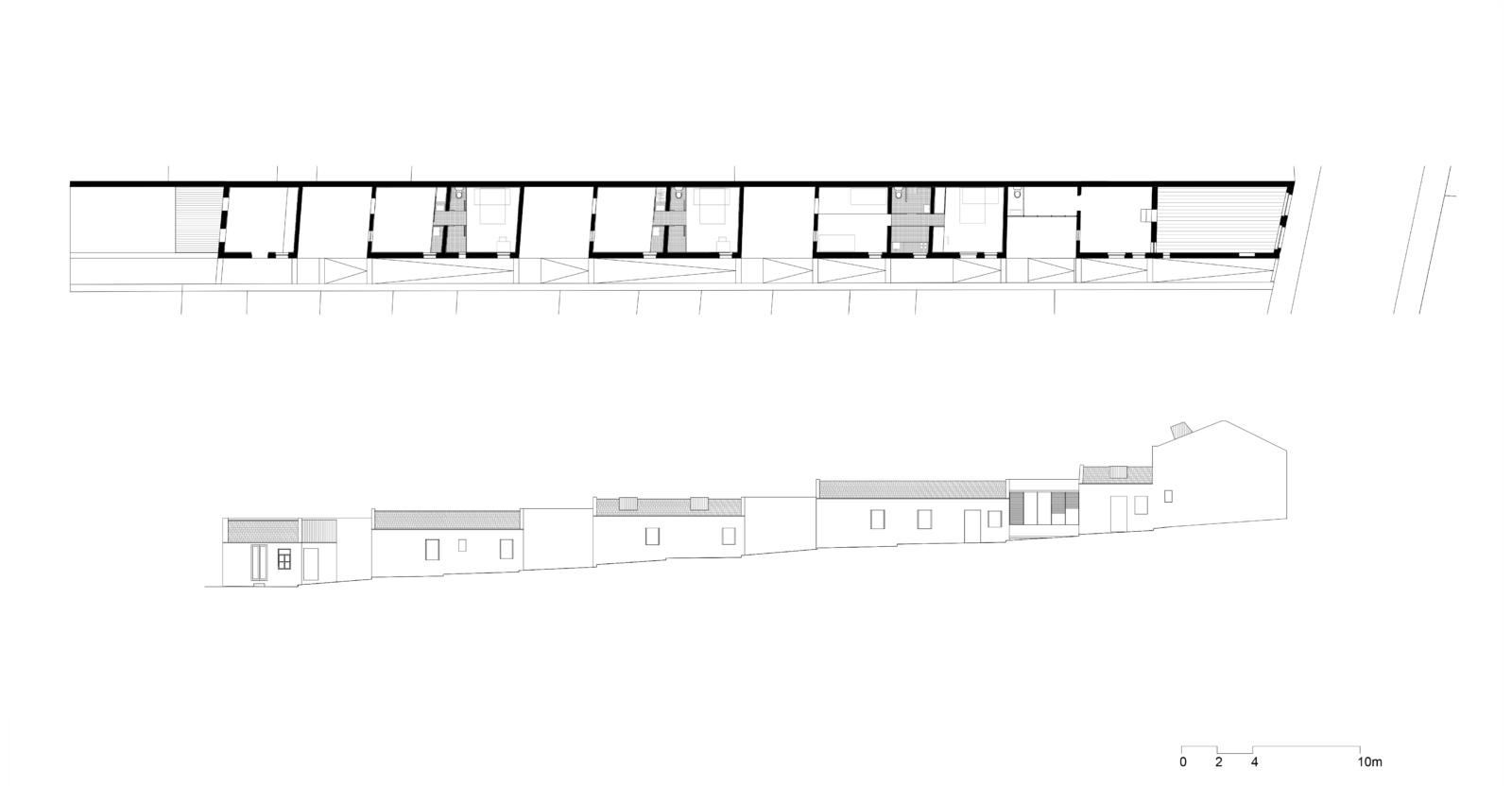 """Cenário 2 """"Artist residence- Studios houses"""": planta e alçado"""